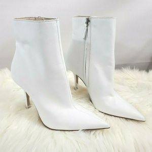 3aac09fda Zara White Leather Stiletto High Heel Ankle Boots